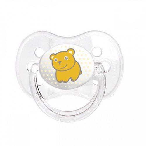 Uspokajające smoczki silikonowe z okrągłą gumką Canpol Babies Transparent 0-6m Żółty
