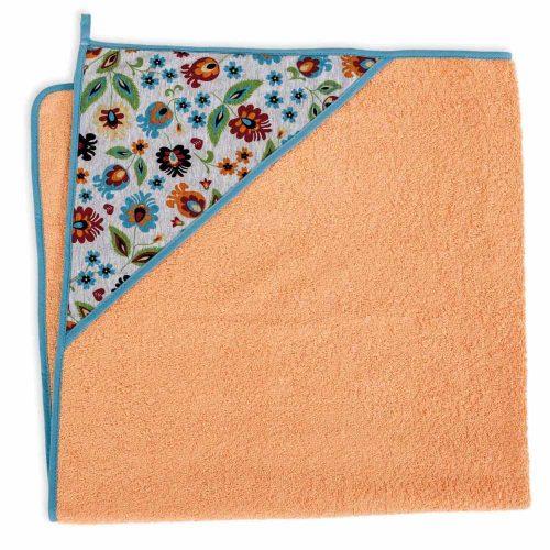 Okrycie kąpielowe bawełniane z kapturkiem 100x100 cm Ceba Baby Folklor