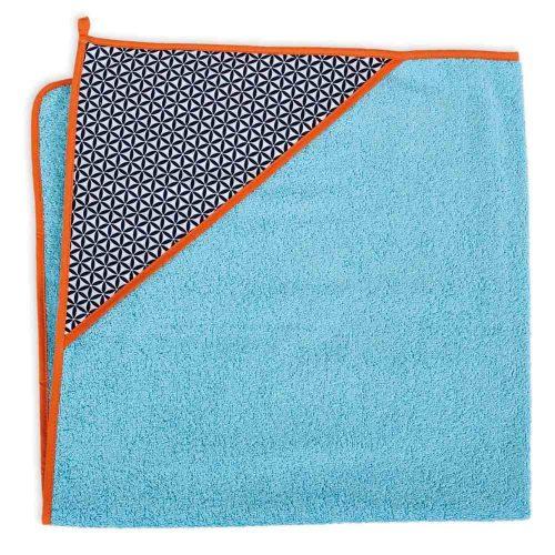 Okrycie kąpielowe bawełniane z kapturkiem 100x100 cm Ceba Baby rozetki