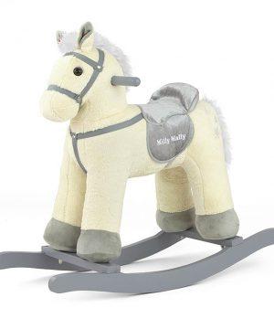 Koń na biegunach Pepe beżówy rży i wydaje odgłos galopowania