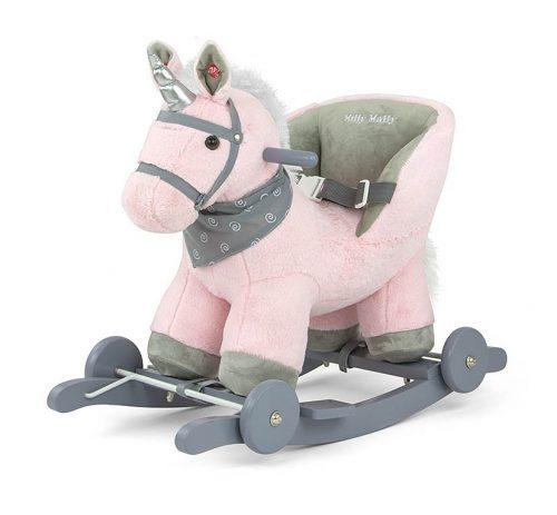 Koń  na biegunach dla małych dzieci z oparciem Polly pink