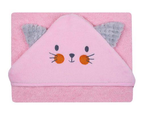 Okrycie kąpielowe haftowane z kotkiem Frotte Soft 100x100 cm różowe