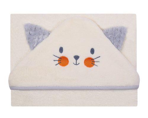 Okrycie kąpielowe haftowane z kotkiem Frotte Soft 100x100 cm ecru