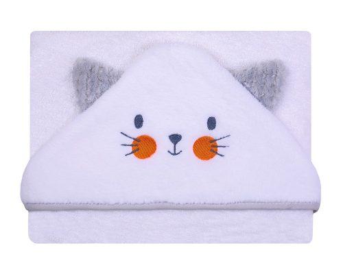 Okrycie kąpielowe haftowane z kotkiem Frotte Soft 100x100 cm szare