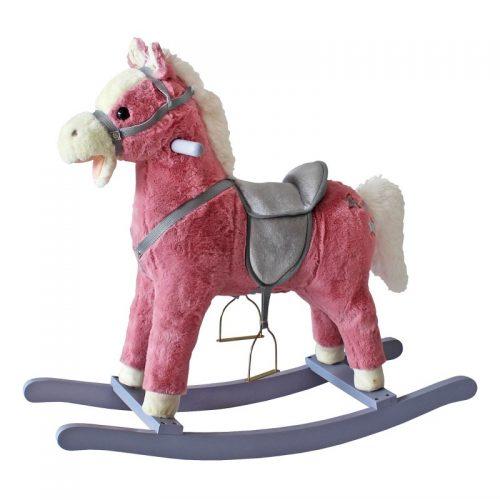 Koń na biegunach bujany koń różowy rży i macha ogonem
