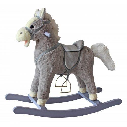 Koń na biegunach bujany koń szary  rży i macha ogonem