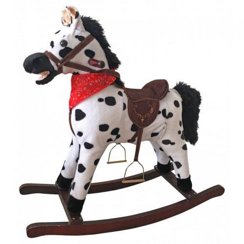 Koń na biegunach bujany koń zabawka na biegunach  rży i macha ogonem