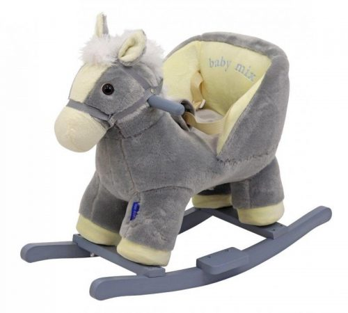 Koń ba biegunach  konik dla dzieci z szelkami bezpieczeństwa i oparciem szary