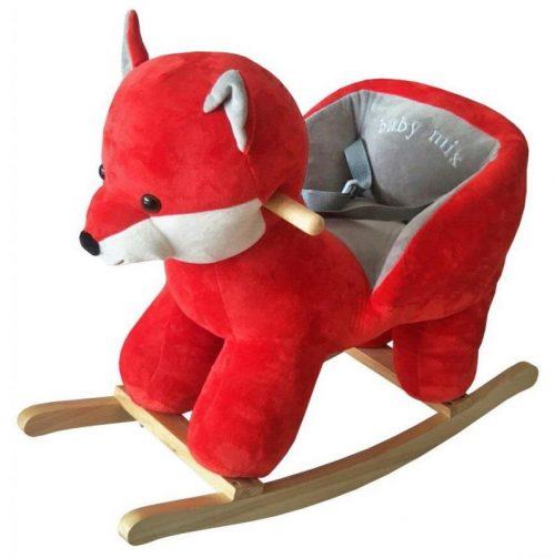 Zabawka ba biegunach dla dzieci z szelkami bezpieczeństwa i oparciem Lisek
