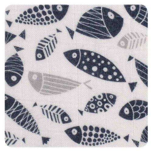 Otulacz kocyk muślinowy 120x120 cm Organic XKKO silver fish