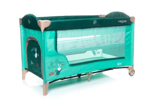 Łóżeczko turystyczne 120x60 dwa poziomy podłogi Vegas 4baby turkus
