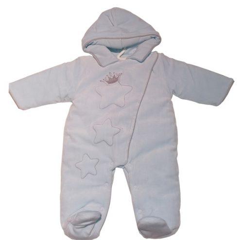 Welurowy pajacyk niemowlęcy Oscar Sofija rozmiar 68 niebieski