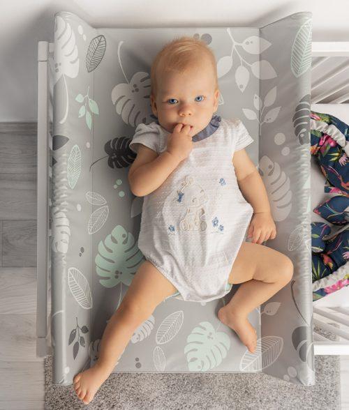 Nadstawka na łóżeczko usztywniana 120x60 przewijak 70x50 lamy miętowe