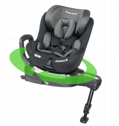 Fotelik samochodowy 0-18 kg i-Size Alaskan BabySafe Szaro Czarny plus gratis !