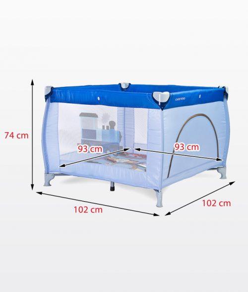 Kwadratowy duży kojec dziecięcy 100x100 Traveler firmy Caretero Blue