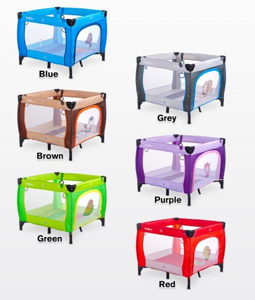 Kwadratowy kojec dziecięcy Quadra, firmy Caretero Purple