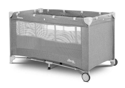 Łóżeczko turystyczne dwa poziomy podłogi Basic Plus Caretero graphite