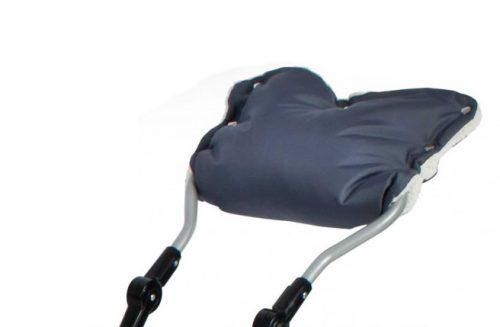 Mufka na rączkę sanek lub wózków  z kożuszkiem grafitowa