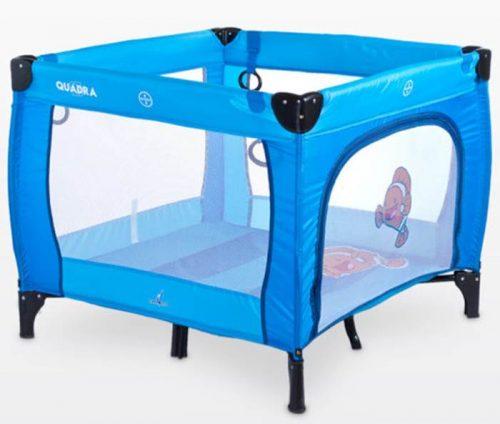Kwadratowy kojec dziecięcy Quadra, firmy Caretero Blue