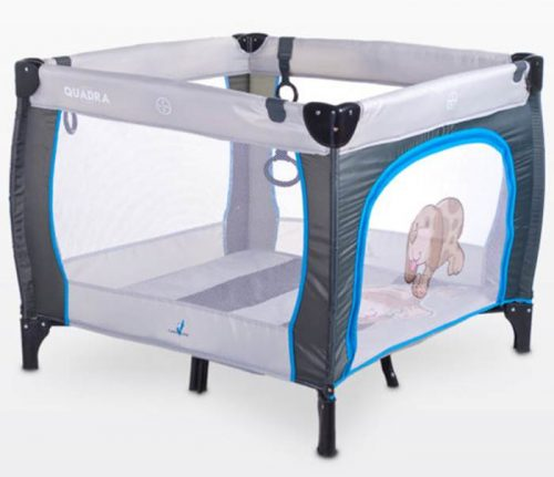 Kwadratowy kojec dziecięcy Quadra, firmy Caretero Grey