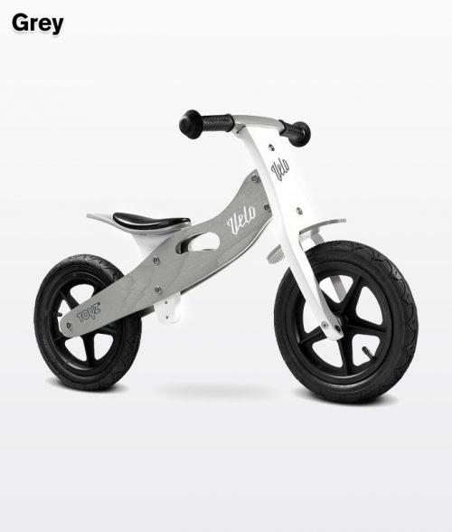 Drewniany rowerek biegowy Velo dla dzieci od 3-6 roku życia, Toyz Grey