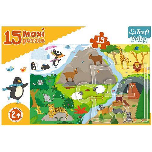 Trefl Puzzle Baby maxi 15el. Zwierzątka i ich domki