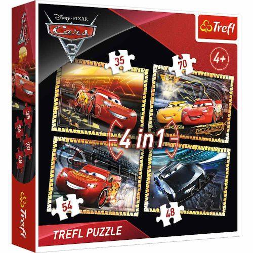 Trefl Puzzle 4w1 35 48 54 70 el. Auta 3: Gotowi do wyścigu