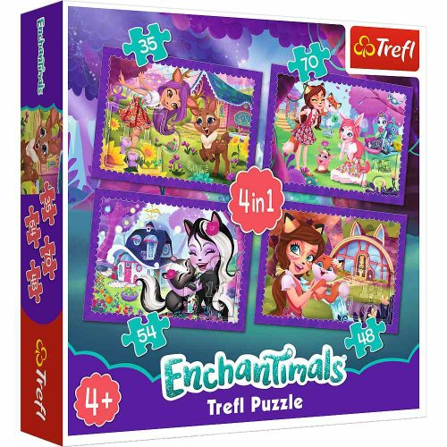 Trefl Puzzle 4w1 35 48 54 70 el.  Enchantimals: Zabawa z pupilami