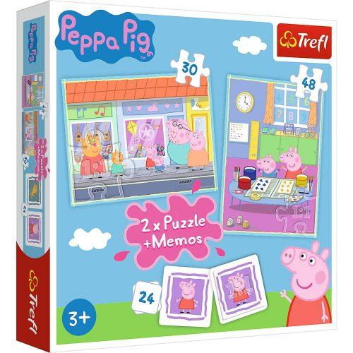 Trefl Puzzle 2w1 – (30 48el.) + memory Świnka Peppa: Dzień Peppy