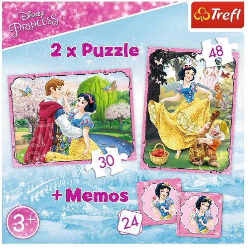 Trefl Puzzle 2w1 – (30 48el.) + memory Księżniczki: Zakochana Śnieżka
