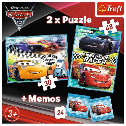 Trefl Puzzle 2w1 30 48el. + memory Disney Auta: Auta 3