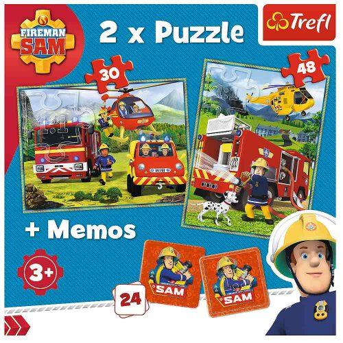 Trefl Puzzle 2w1 – (30 48el.) + memory Strażacy w akcji