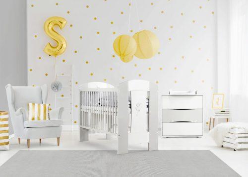 Zestaw mebli Nati Klupś łóżeczko niemowlęce 120x60 + komoda z przewijakiem