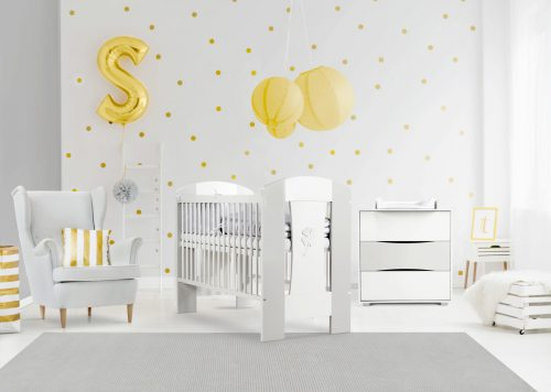Zestaw mebli Nati Klupś łóżeczko niemowlęce z szufladą 120x60 + komoda