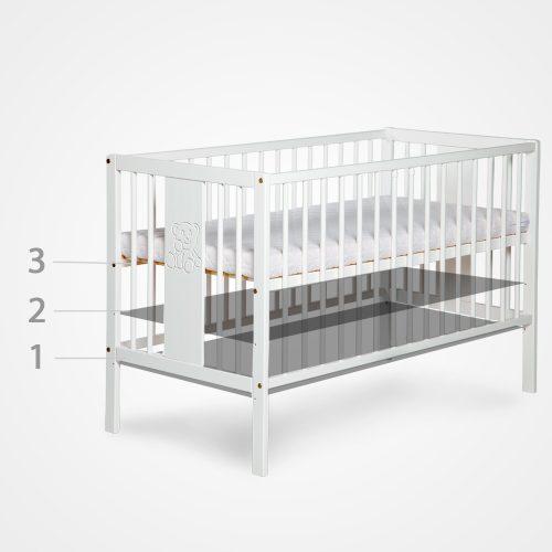 Zestaw mebli komoda meblowa z przewijakiem + łóżeczko niemowlęce 120x60 Amelia dąb Klupś