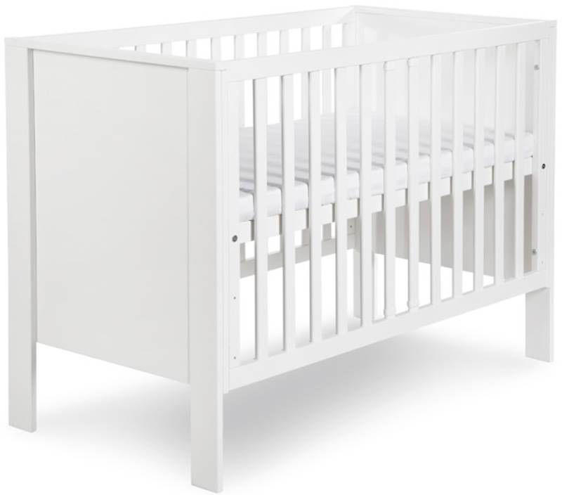 Zestaw mebli szafa komoda łóżeczko z szufladą białe MDF Leon 120x60, Klupś