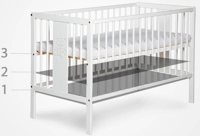Zestaw mebli komoda łóżeczko z szufladą białe MDF Leon 120x60, Klupś