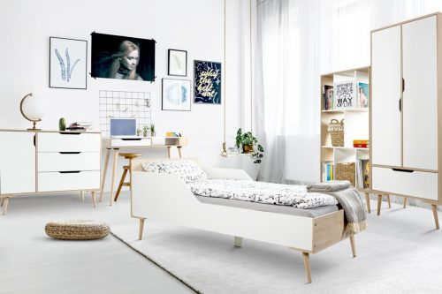 Zestaw młodzieżowch mebli łóżko180x80 komoda regał Sofie Litte Sky biały buk