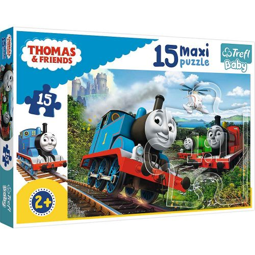 Trefl Puzzle Baby maxi 15el. Pędzące lokomotywy