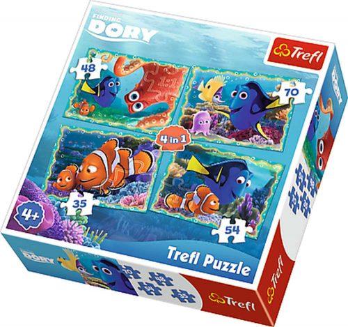 Trefl Puzzle 4w1 35 48 54 70 el. Gdzie jest Dory?