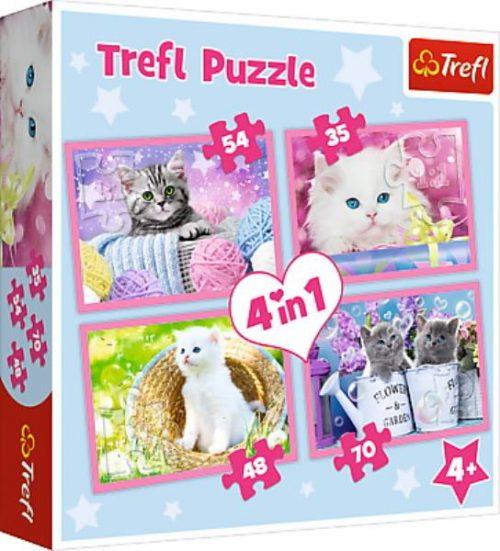 Trefl Puzzle 4w1 35 48 54 70 el. Kocie zabawy