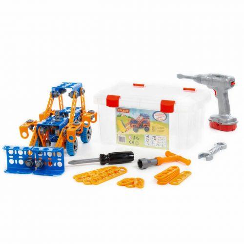 Zestaw Wynalazca Traktor ładowarka do skręcania 142 elem. + śrubokręt elektryczny wkrętarka