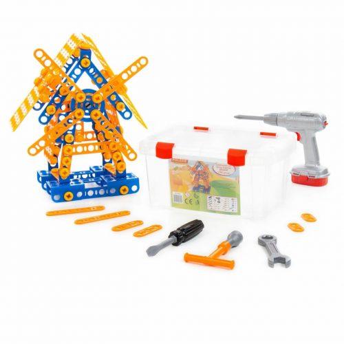 Mały konstruktor skręć i rozkręć  Młyn 196 elem. + śrubokręt elektryczny wkrętarka