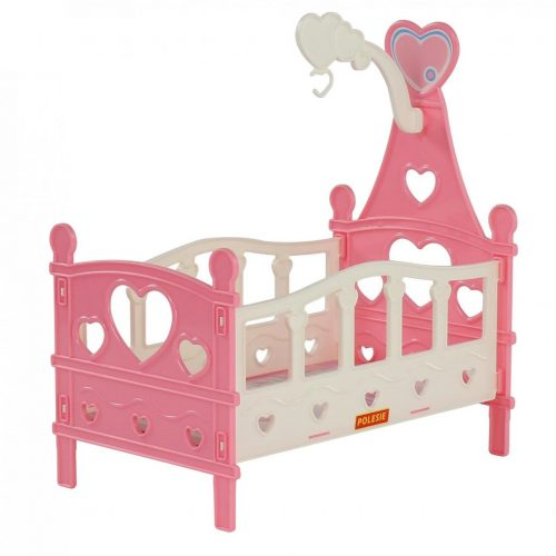 Łóżeczko składane dla lalek w różowym kolorze