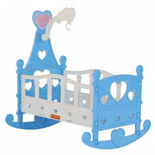 Łóżeczko huśtawka kołyska dla lalek skladana niebieskie