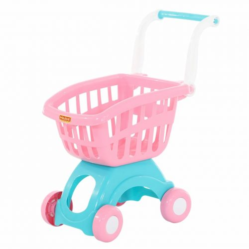 Mini wózek sklepowy, wózek do sklepu spożywczego różowy