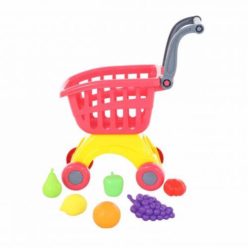 Wózek do sklepu Mini + Zestaw zakupowy owoce 6 elem.
