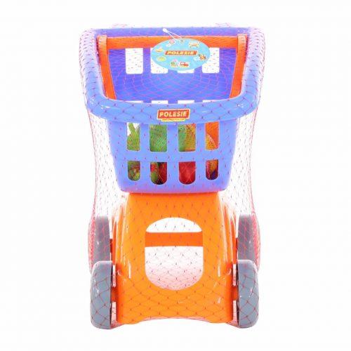 Wózek do sklepu Mini + Zestaw zakupowy owoce 6 elem. niebieski