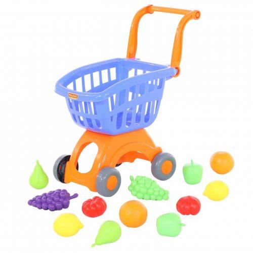 Wózek do sklepu Mini + Zestaw zakupowy owoce 12 elem.