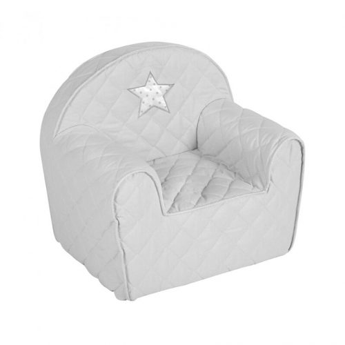 Fotelik dla dziecka z pianki komfortowy fotel dla dzieci gwiazdka szara
